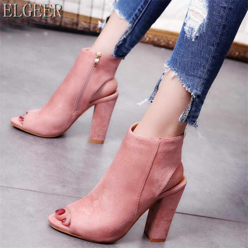 Büyük boy 34-41 Pompaları Moda 2017 Yeni Moda Süet kadın yüksek topuklu ayakkabı Ayak Bileği Yüksek topuklu Kadın rahat ayakkabılar Botines