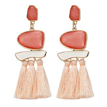 HOCOLE Boho Tassel Earrings For Women Vintage Gem Stone Long Fringe Hanging Drop Colorful Earring Big Pendientes Jewelry New
