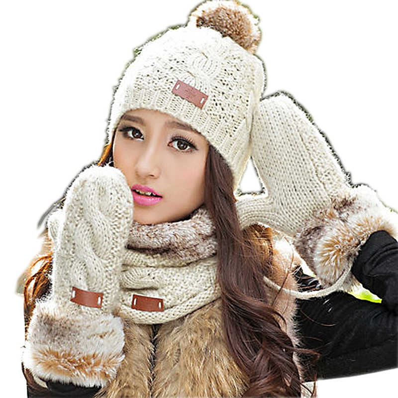 e9e3798f439 2018 New Special Offer Women Adult Autumn And Winter Thermal Knitted Set  Women s Hat Scarf Muffler