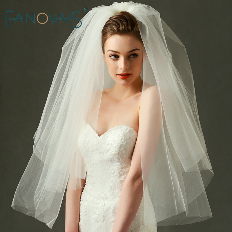 Simple Elegant Bridal Veil Wedding Accessories Two Layers Tulle Wedding Veils Cheap Veil For Wedding 2019
