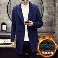 Mantener el calor en invierno Los Hombres boutique de moda de doble botonadura abrigo de paño de lana gruesa de lana Masculino delgado negocio capa de color Puro ocio