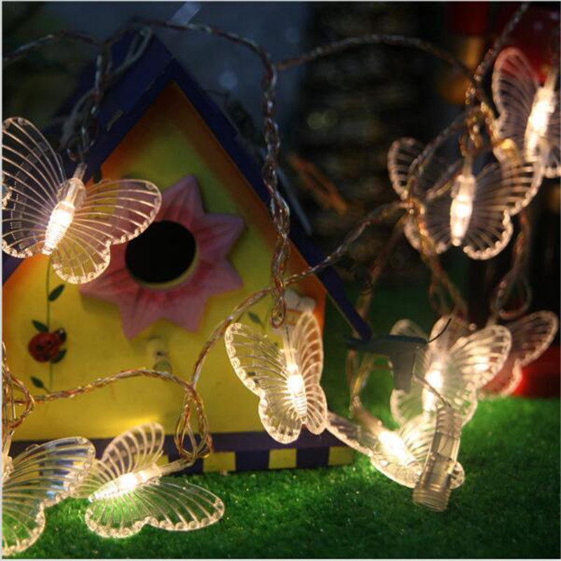 EU Plug 10m 100led Butterfly String Light Fairy Fiber Optic Garland Outdoor Garden Party Patio Courtyard Street Decoration