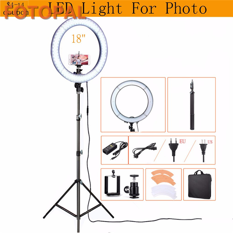Fotopal RL-18 LED photography lighting Dimmable 240 LEDs 5500K Camera Photo Studio Phone Video Ring Light Lamp With Tripod&Bags fotopal led ring light for camera photo studio phone video 1255w 5500k photography dimmable ring lamp with plastic tripod stand