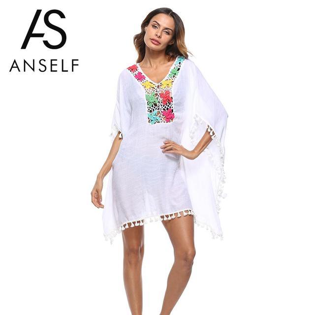 936ba3bf0c1199 Anself Boho Loose Summer Blouse Tops Women Swimsuit Cover Ups Crochet Lace Hollow  Out Loose Beach Wear Robe De Plage Vestido