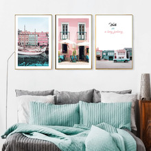 Girls Room Decor Pink Building Nordic Posters and Prints Boat Seascape Wall Art Scandinavian Picture Canvas Painting for Bedroom