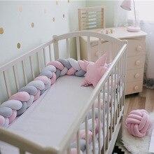 2 м Детская кровать бампер длинная ручная работа завязанная плетеная плюшевая детская кроватка боковая защита для новорожденного ребенка узел Подушка декор комнаты