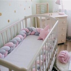 2 м Детская кровать бампер длинная ручная работа завязанная плетеная плюшевая детская кроватка боковая защита для новорожденного ребенка у...