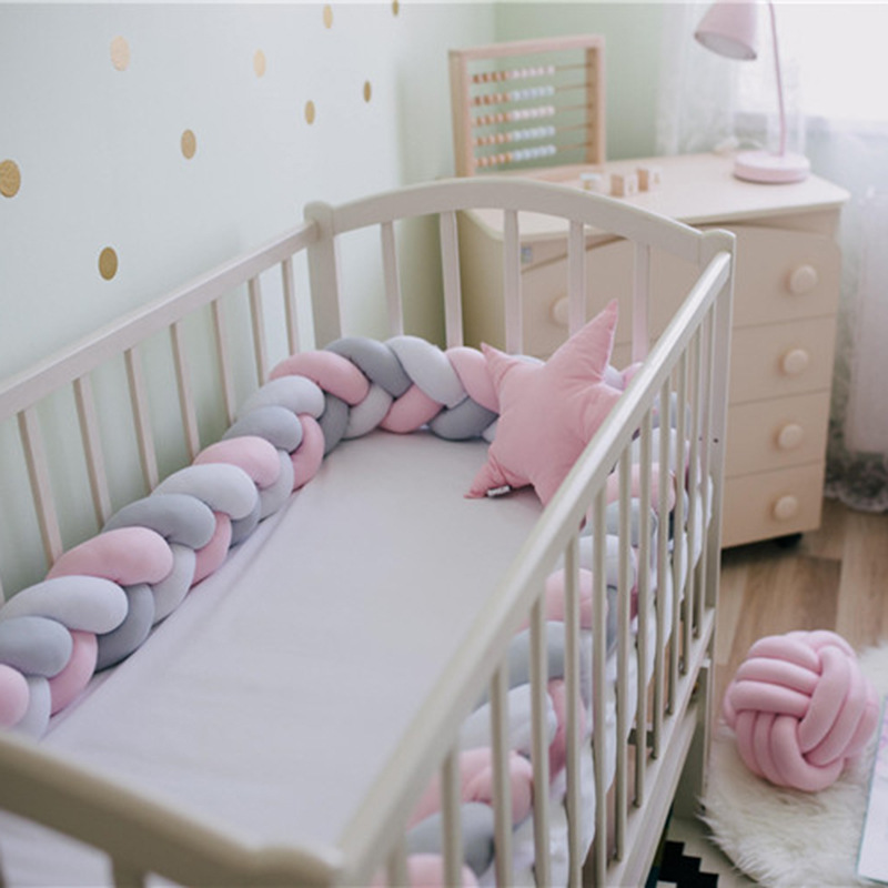2M Baby Bed Bumper Long Handmade Knotted Braid Weaving Plush Baby Crib Sides Protector Newborn Baby Knot Pillow Room Decor