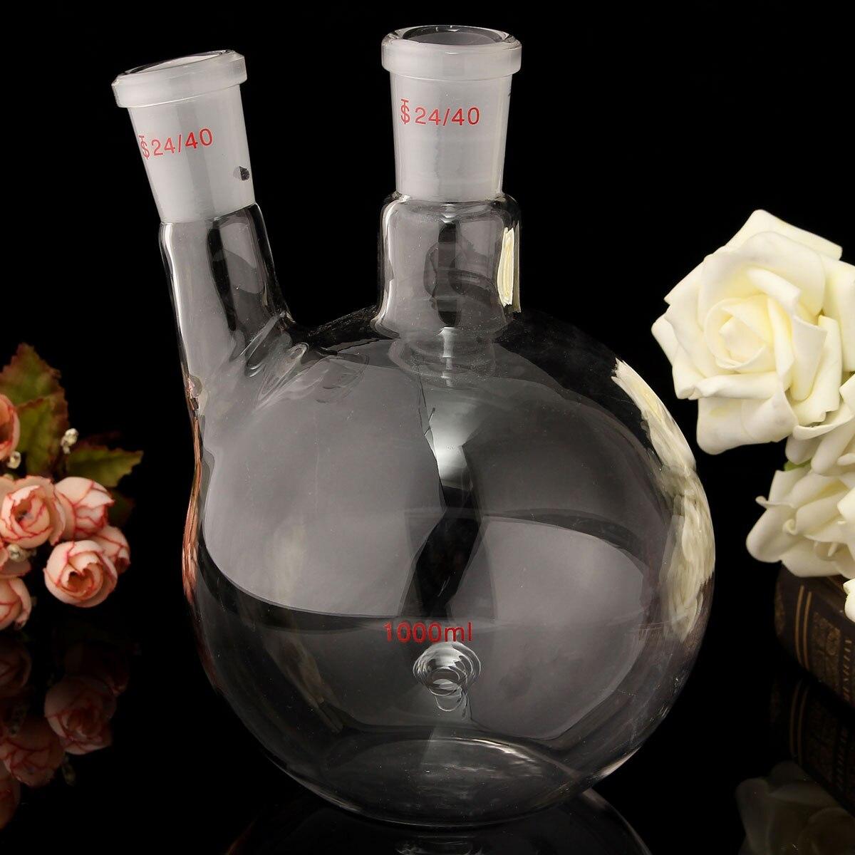 1000ml 2 Neck 24/40 Flat Bottom Glass Flask Laboratory Boiling Bottle Lab Supplies Glassware Kit Transparent Chemistry цена и фото