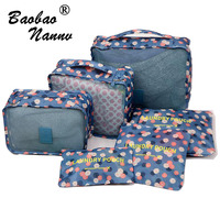 Nylon Packing Cube Travel Bag Floral Dot Durable 6 Pieces Set Large Capacity Of Bags Unisex