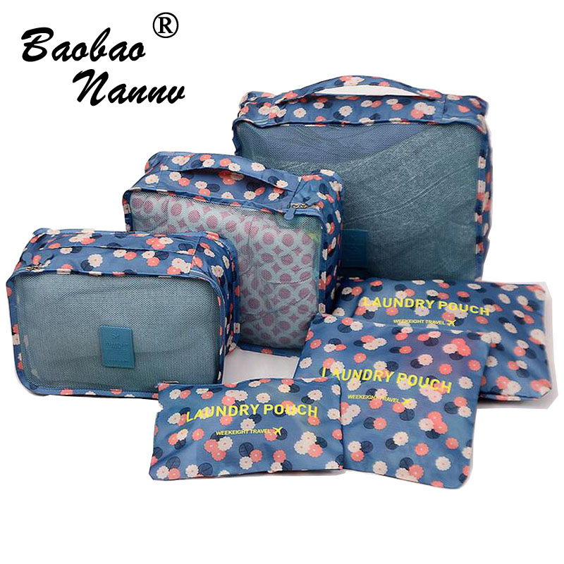 6 Pieces/Set Nylon Packing Cubes 2017 Luggage Travel Bag Floral Dot Large Capacity Of Bags Unisex Clothing Sorting Organize Bag high quality travel 6 pieces set of luggage separate organizer large capacity storage bag cubic shoe bag travel bag
