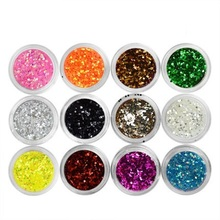 one piece 12 Color Large sequins Glitter UV Nail Gel Acrylic Polish styling nail tools makeup gel nail polish nails art M671