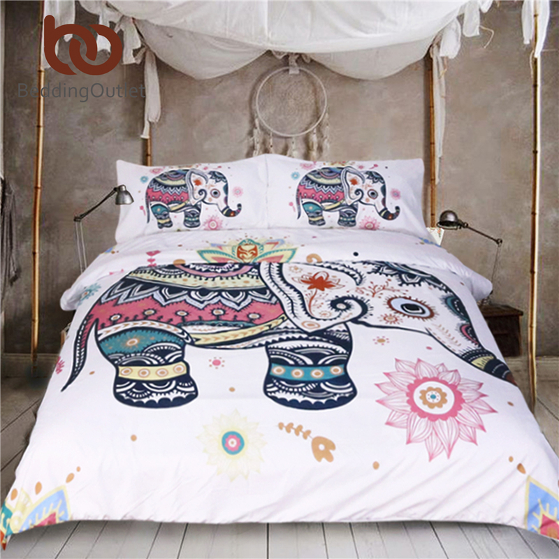 BeddingOutlet 3 Pcs Rainbow Mandala Elephant Duvet Cover Set Bohemian Pastel Floral Bed Set Hippie Gypsy Bedding Queen