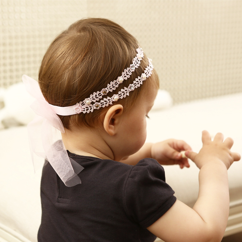 New Girls Headband Rhinestone Flower Lace Ribbon Bow Girls Elastic Headbands Kids Hair Accessories Infantil Princess Headwear 7 fashion boutique grosgrain ribbon organza breast cancer printed cheer bow with elastic hair bands for cheerleading girls