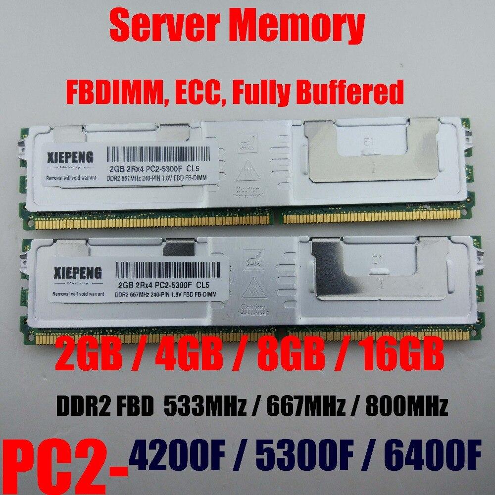 Server Memory 4GB 2Rx4 PC2-5300F FB-DIMM 8GB DDR2 800MHz PC2-6400F ECC FBD 16GB 667MHz Fully Buffered DIMM 240pin 5300 RAM