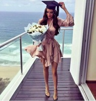 Women Sueded Asymmetric Wrap Silk Mini Dress Sexy V neckline Long Sleeve Silk Wrap Dress With Ruffle Detail