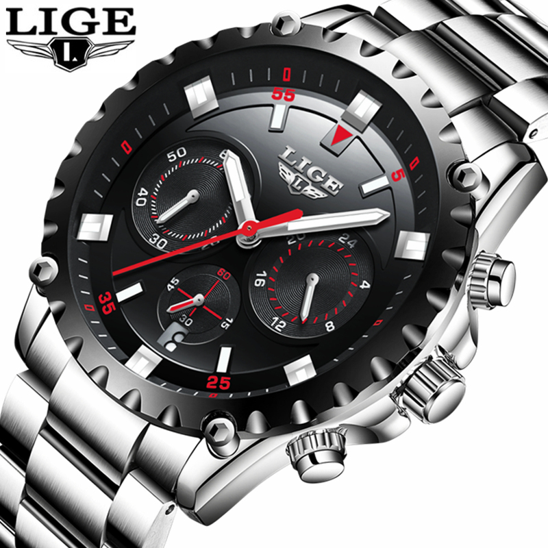 LIGE Watch Men Sport Quartz Clock Mens Watches Top Brand Luxury Full Steel Casual Waterproof Business Watch Relogio Masculino weide casual genuine watch luxury brand quartz sport watches stainless steel analog men larm clock relogio masculino schocker