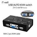 2 Port VGA AUTO Switch kvm USB com USB do Console, 1 conjunto de teclado & mouse controla 2 anfitriões do computador com cabo KVM