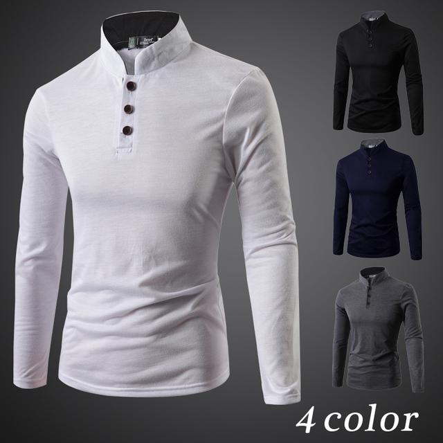 2015 camisa de polo de Los Hombres Del Collar Del Soporte Sólido Tops & Tees Camisa Jerseys Ropa Camiseta Fresca Camisa Polo Masculina