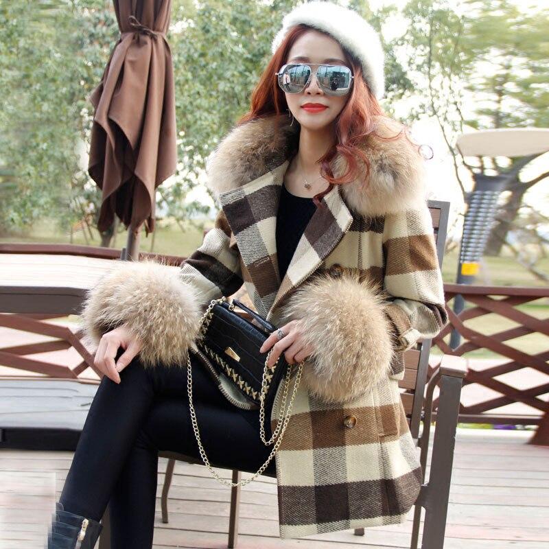 Survêtement Style Manteau Réel Laine Laveur Mélangée Long 2018 D'hiver Raton Femmes Britannique Trench Casual Nouvelles De Fourrure Boutonnage Plaid Col Beige Double wqRRZYE