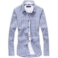 Korean Style Plus Size 5xl Men Shirt Casual Long Sleeve Plaid Shirt Slim Stylish Checkered Shirts