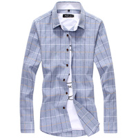Korean Style Plus Size 5xl Men Shirt Casual Long Sleeve Plaid Shirt Slim Stylish Checkered Shirts