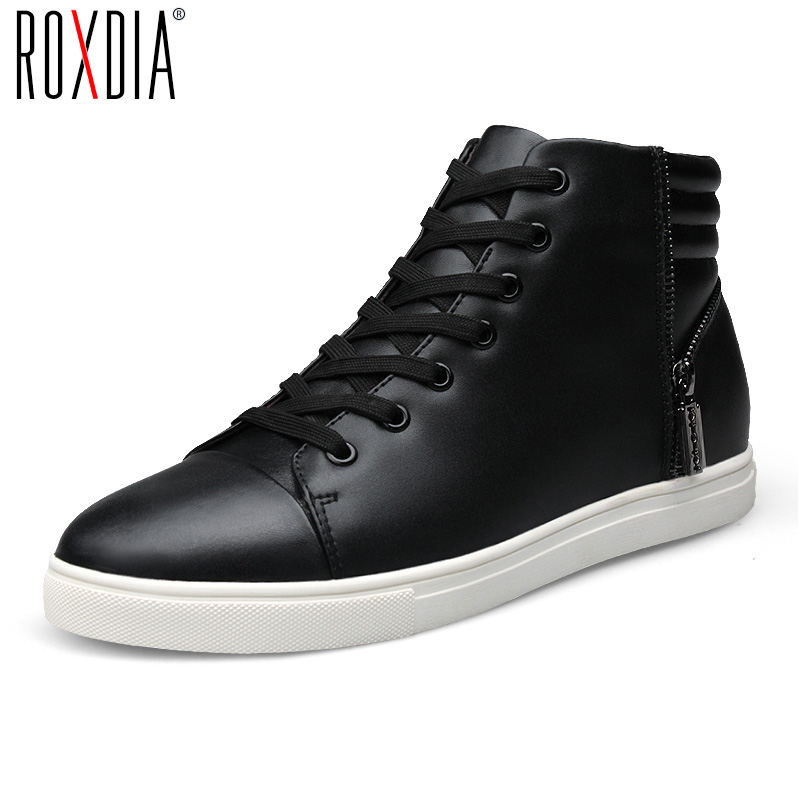 ROXDIA men boots man ankle shoes winter snow genuine leather warm short plush lace up black blue plus size 39-44 RXM1002 iahead men boots genuine leather flats new casual shoes lace up warm winter boots men plus size 38 48 rain shoes men mh586