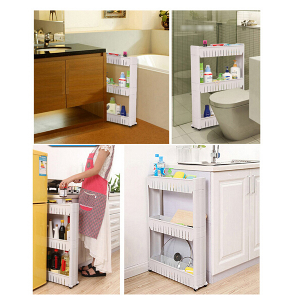 Plastic Bathroom Shelf - 1 pc white gap storage shelf for kitchen storage skating movable plastic bathroom shelf save space