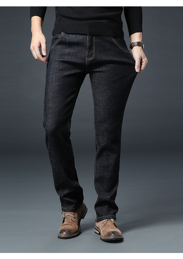 KSTUN Men Jeans Winter Thicken Fleece Straight Stretch Black Business Casual High Waist Classic