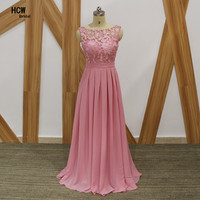 Long Bridesmaid Dress Scalloped Neck A Line Lace Top Open Back Sexy Bridesmaid Gowns 2017 Cheap
