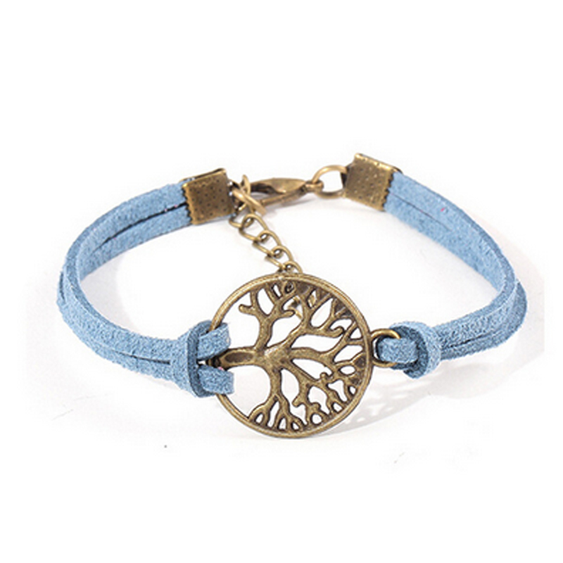 5 Colors Fashion Jewelry Tree of Life Table Bracelet High Quality Women Men Korean Velvet Wristband
