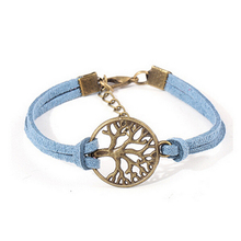 5 Colors Fashion Jewelry Tree of Life Table Bracelet High Quality Women Men Korean Velvet Wristband Leather Rope Bangle For Girl