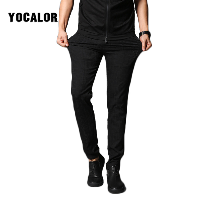 2018 Ice Silk Mens Casual Track Work Sweat Pants Male Pantalon Homme Trousers Men Jogger Side Mens Fashion Leggings Stretch