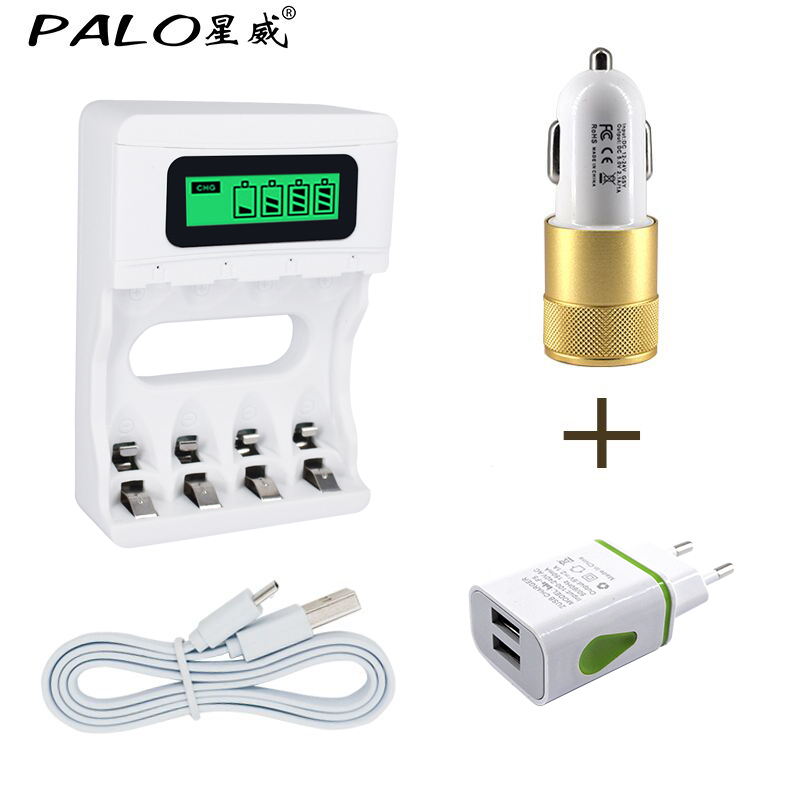 Wholesale USB Car Charger +Intelligence 4 Slots LCD display Battery Charger for AA/AAA rechargeable battery