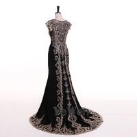 Robe De Soiree Longue Sexy Black Mermaid Lace Evening Dress 2018 Long High Quality Appliques Evening
