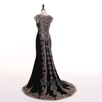 Robe De Soiree Longue Sexy Black Mermaid Lace Evening Dress 2018 Long High Quality Appliques Evening