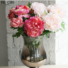 6 heads/bouquet artificial peony bouquet home decoration accessories real touch roses silk flower wedding mariage
