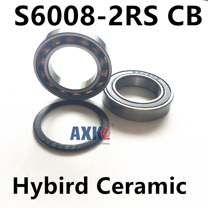 Free Shipping stainless steel hybrid ceramic ball bearing 40*68*15 mm s6008 s6008 2rs bearing s6008-2rs cb 6008 2rs size40x68x15 stainless steel ceramic ball hybrid bike bearing s6008 2rs