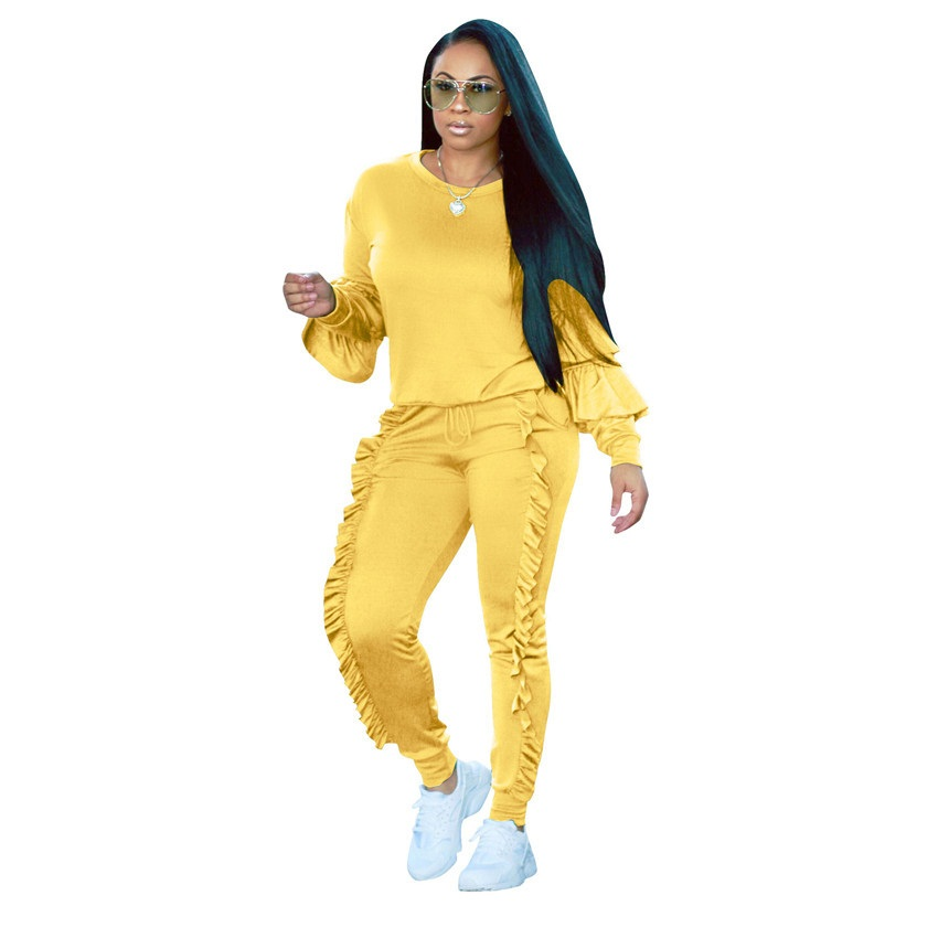 Plus size Two Piece Ruffles Jumpsuits Women Rompers Long Sleeve Winter Women spring Outfits Casual Party Overalls
