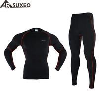 2015 ARSUXEO Men Winter Thermal Warm Up Fleece Compression Cycling Base Layers Shirts Running Sets Jersey