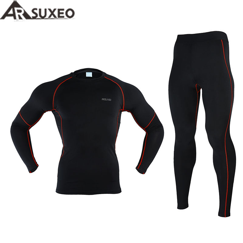 2017 ARSUXEO Men Winter Thermal Warm Up Fleece Compression Cycling  Base Layers Shirts Running Sets Jersey  Sports Suits N56 2017 men winter thermal warm up fleece compression cycling base layers shirts running sets jersey sports suits bike clothes