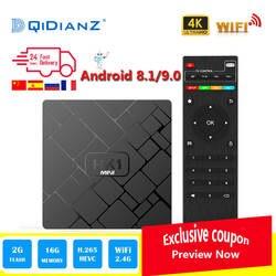 Новый, HK1 мини Smart tv BOX Android 8,1/Android 9,0 2 ГБ + 16 Гб RK3229 четырехъядерный wifi 2,4 г 4 к 3D HK1mini Google Netflix приставка