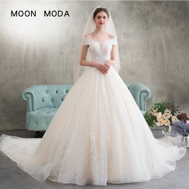 Sem mangas vestido de noiva de renda 2019 boat neck vestidos de casamento Simples plus size real photo princesa weddingdress vestido de novias