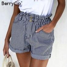 BerryGo stripe women shorts Elastic wasit buttoms button zip
