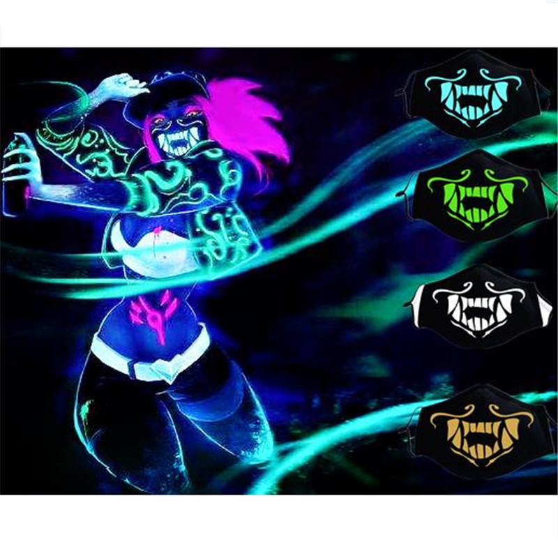 Game LOL K/DA KDA Akali The Rogue Assassin S8 Cosplay Props Boys Girls Teens Night Lights Mask Face Cotton Mask Accessories