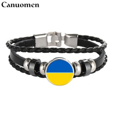 Canuomen Ukraine Flag Leather Bracelet Snap Punk Greece Jamaica Chile Flags Glass Cabochon Handmade Charm Women Men Jewelry(China)