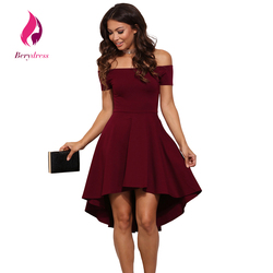Berydress elegant women 2017 wedding party dresses sexy club off shoulder burgundy skater summer dresses 2017.jpg 250x250