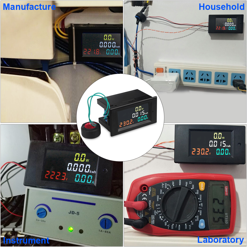 AC Power Meter AC 80 300V 100A Digital Voltmeter Ammeter Multimeter Volt Amp Meter with Current Transformer CT Color Display in Voltage Meters from Tools
