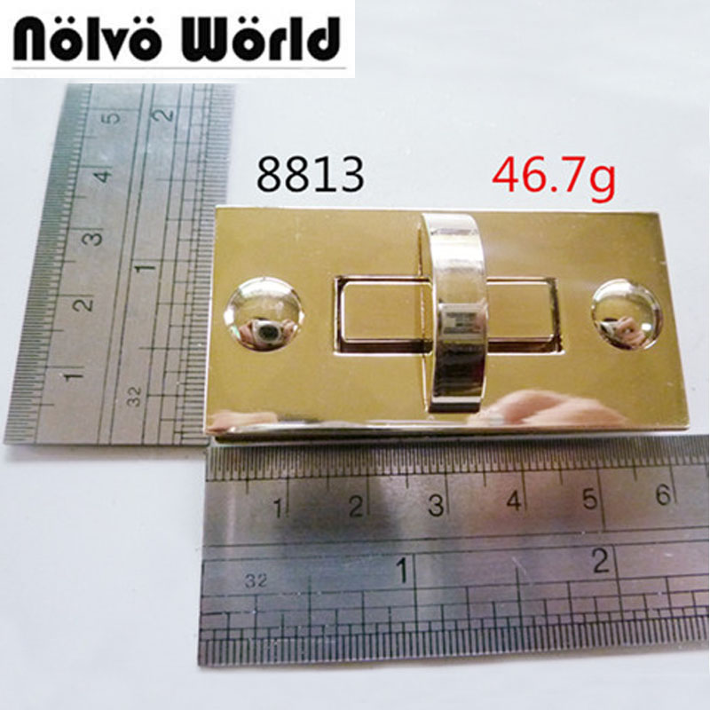 10pcs Big Version Rectangular Light Gold Turn Lock Fashion Hardware Bag Accessory Lock For Briefcase