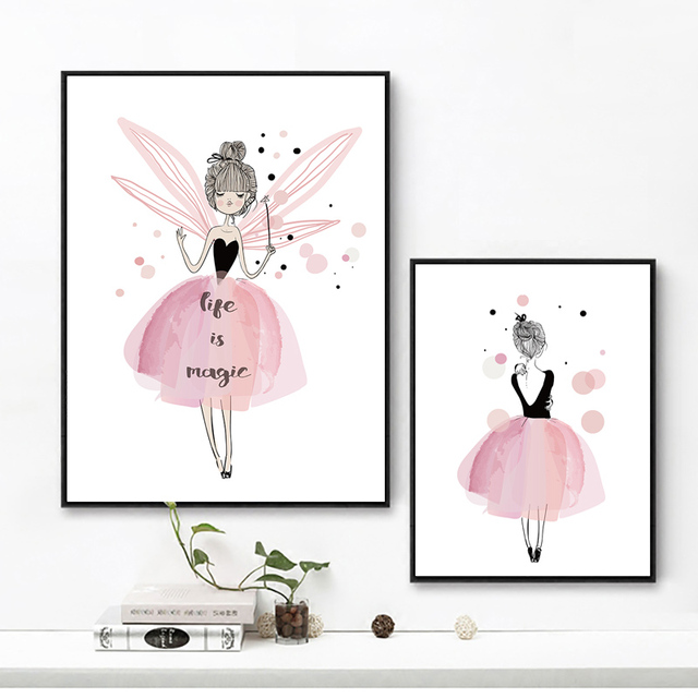 Decoracion Nordica Girls Room Decor Pink Cartoon Kids I Love You Letter Wall Pictures Canvas